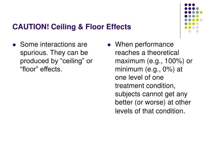 "Some interactions are spurious. They can be produced by ""ceiling"" or ""floor"" effects."
