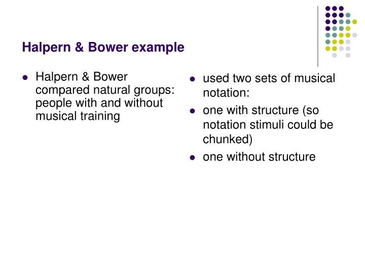 Halpern & Bower compared natural groups: people with and without musical training