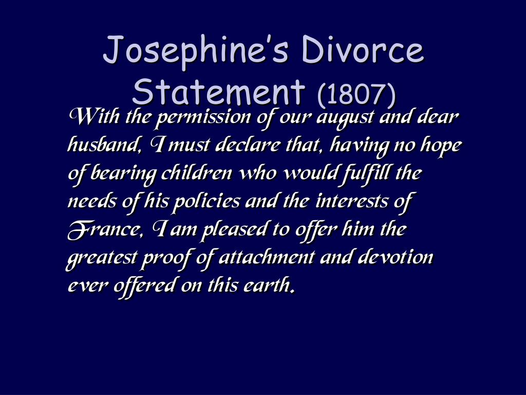 Josephine's Divorce Statement