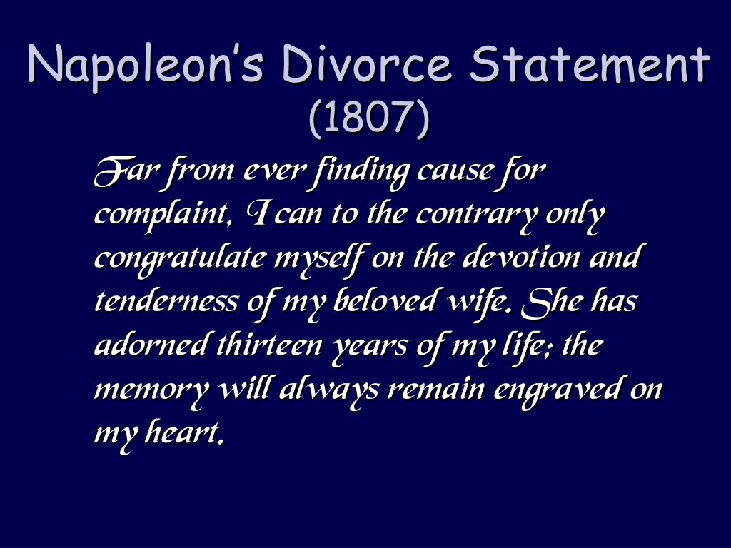 Napoleon's Divorce Statement