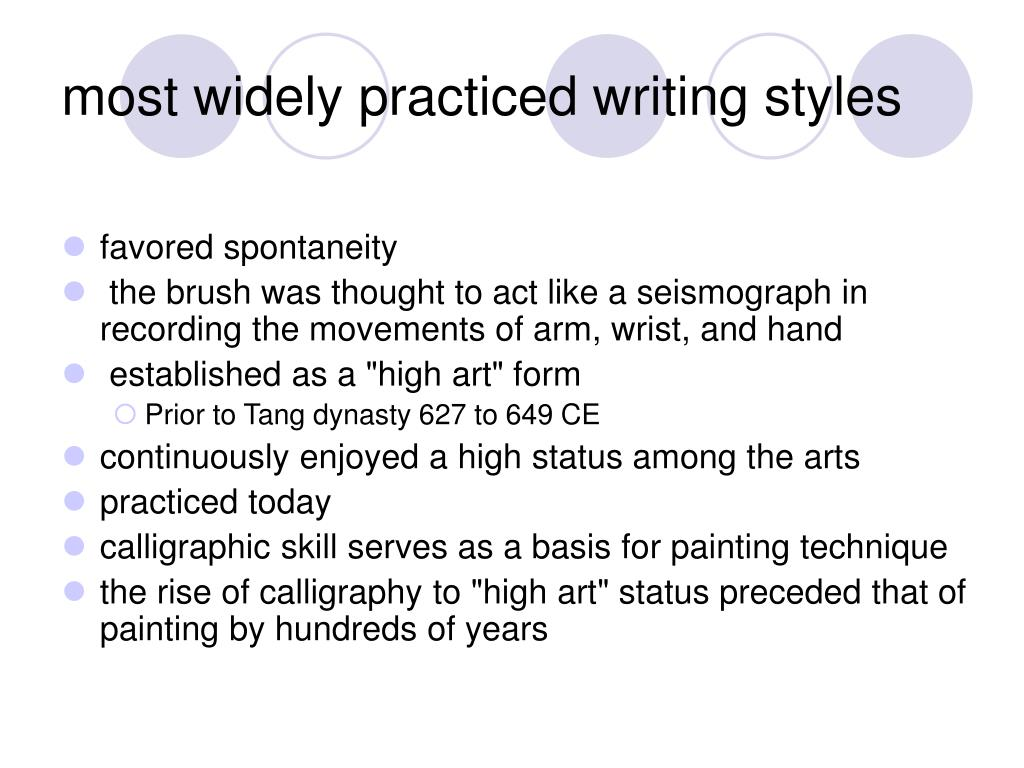 most widely practiced writing styles