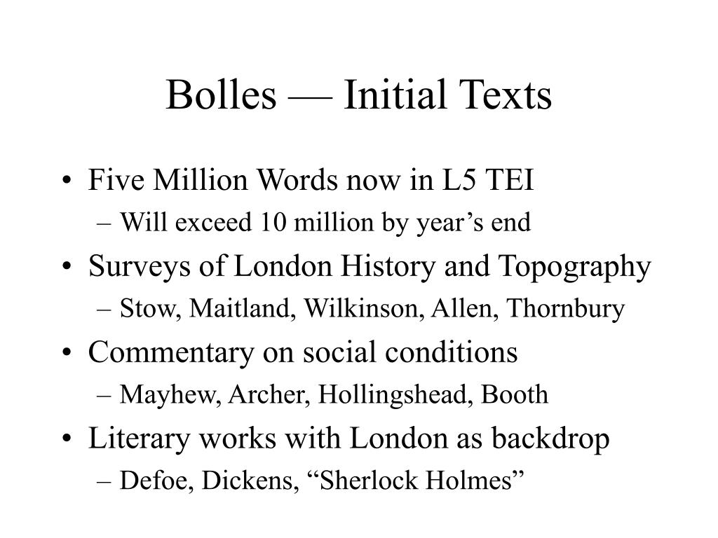 Bolles — Initial Texts