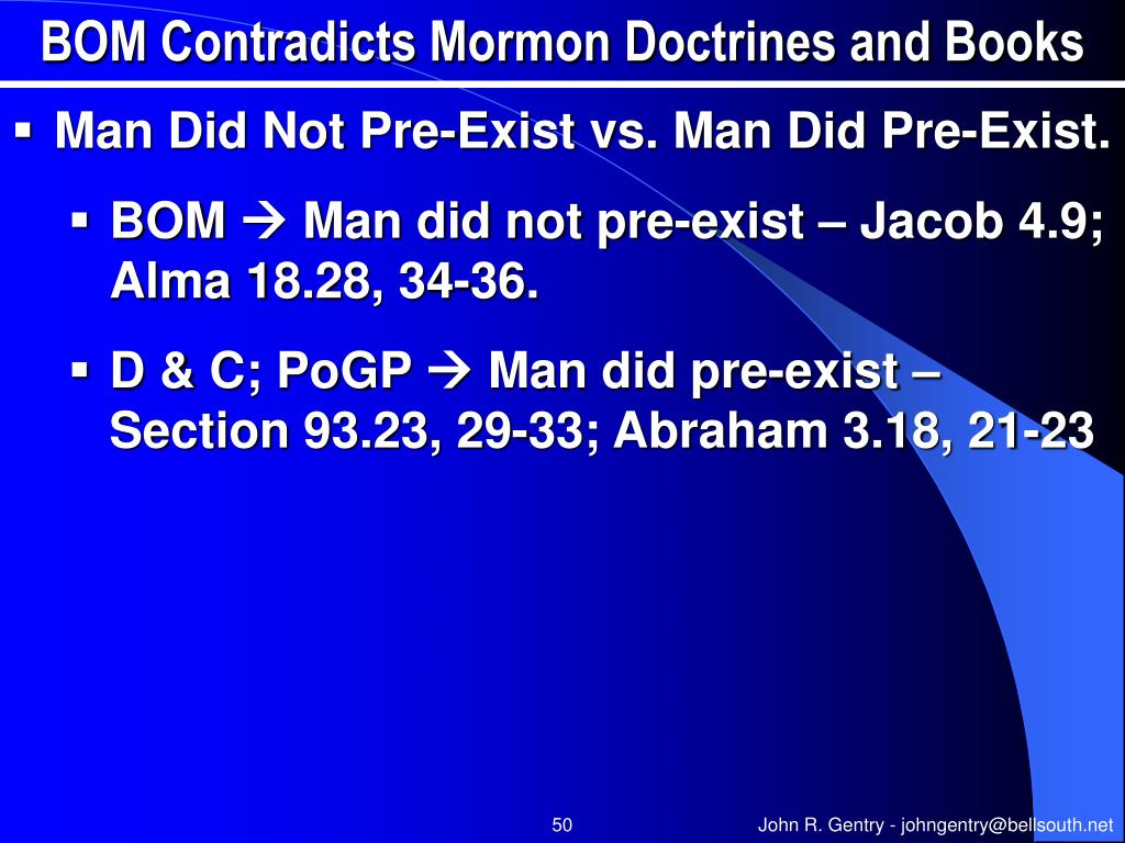 BOM Contradicts Mormon Doctrines and Books