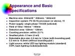 appearance and basic specifications
