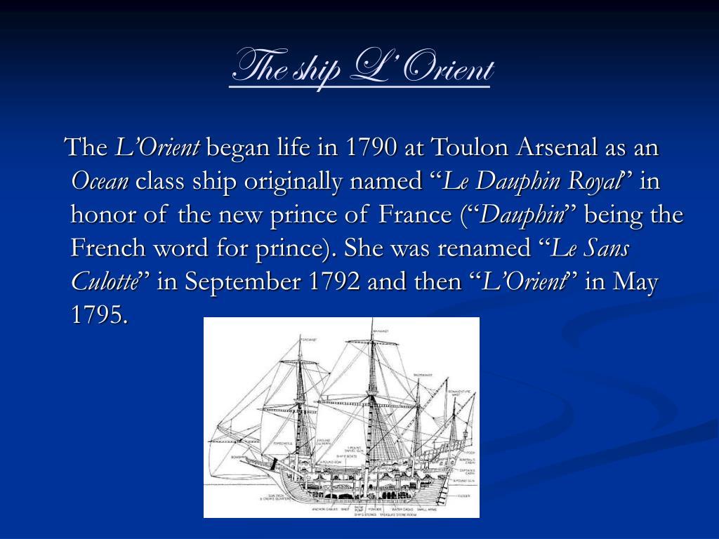 The ship L'Orient