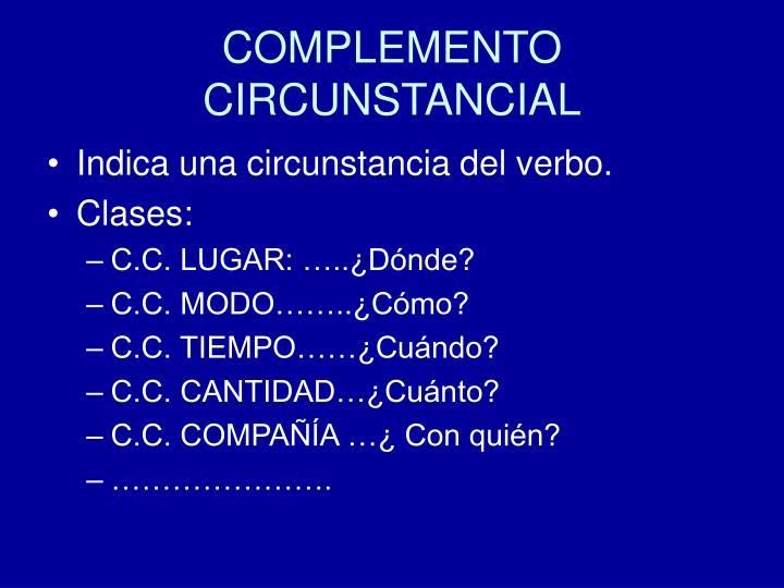 COMPLEMENTO CIRCUNSTANCIAL