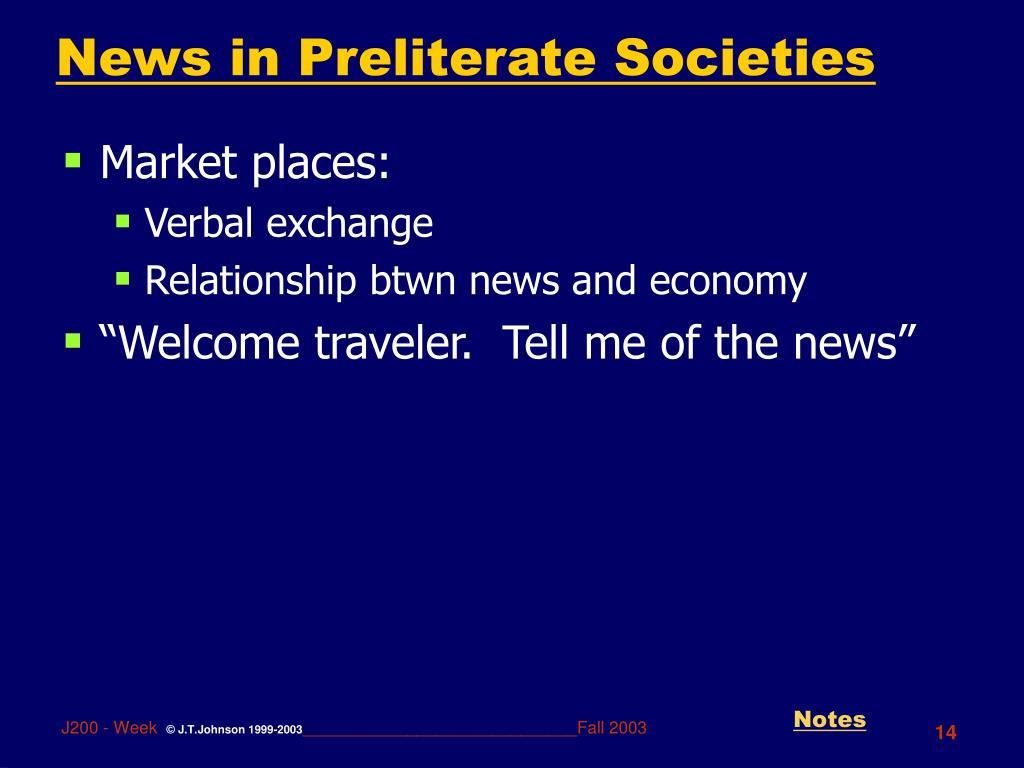 News in Preliterate Societies