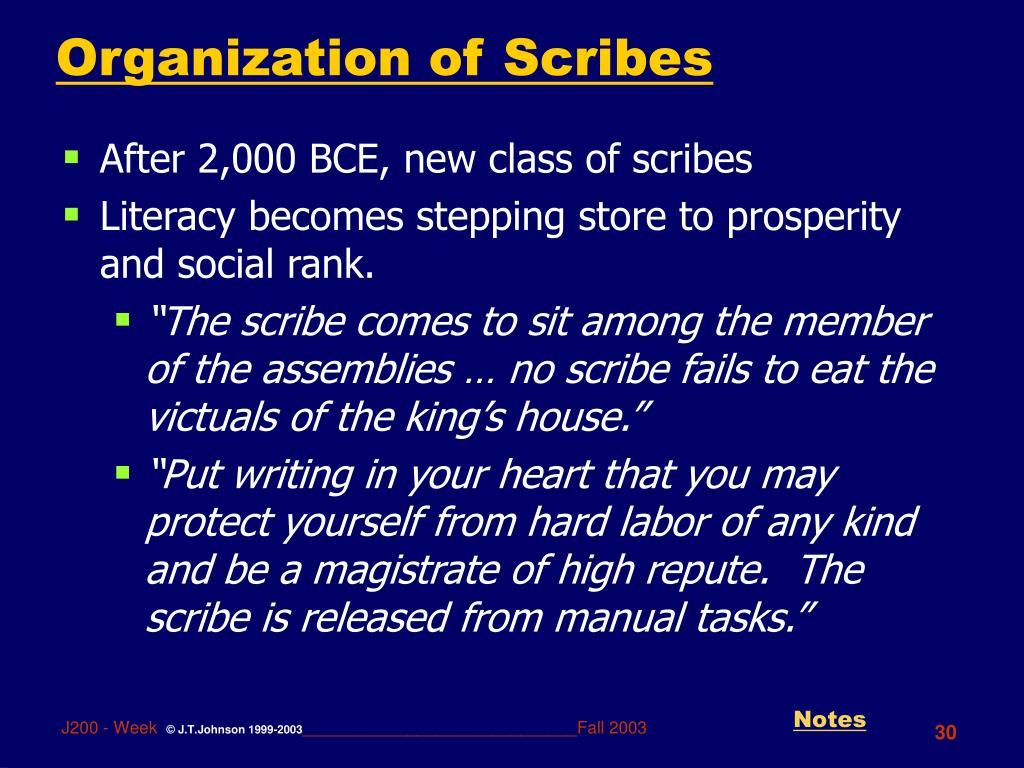 Organization of Scribes