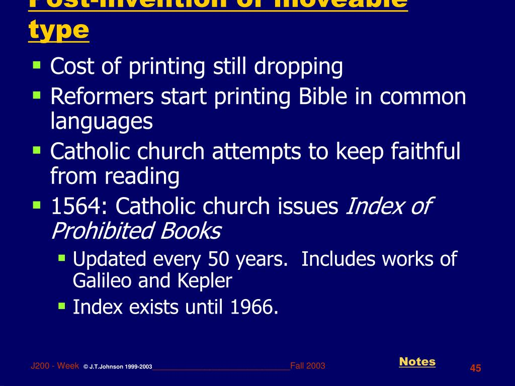 Post-invention of moveable type