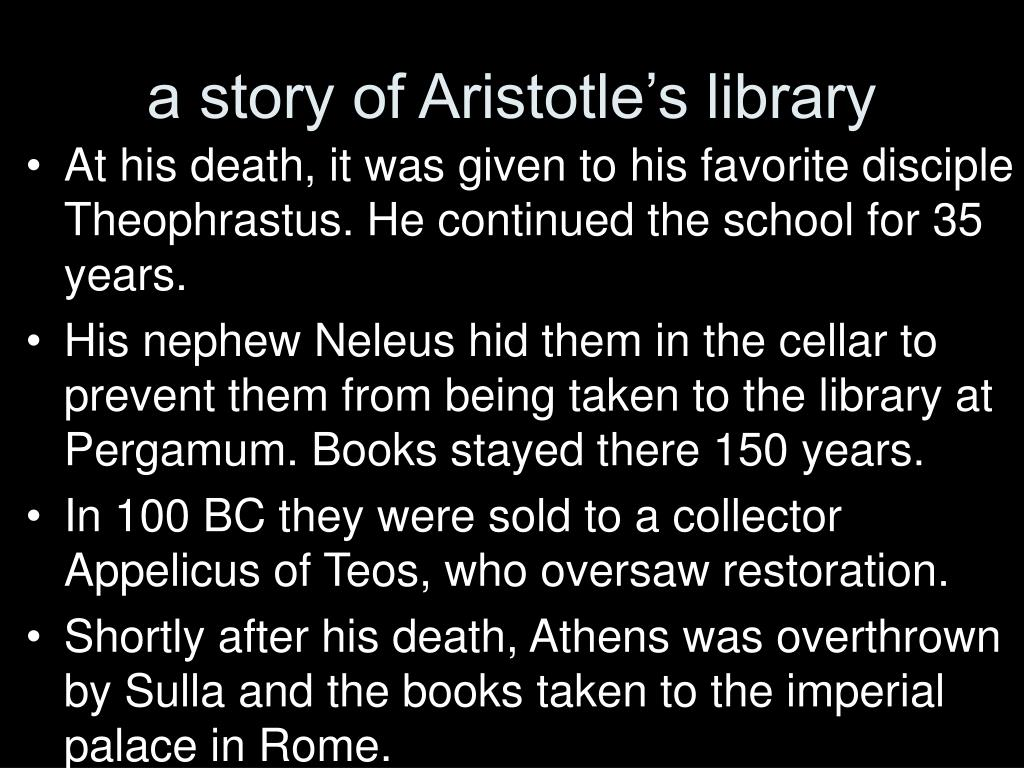 a story of Aristotle's library