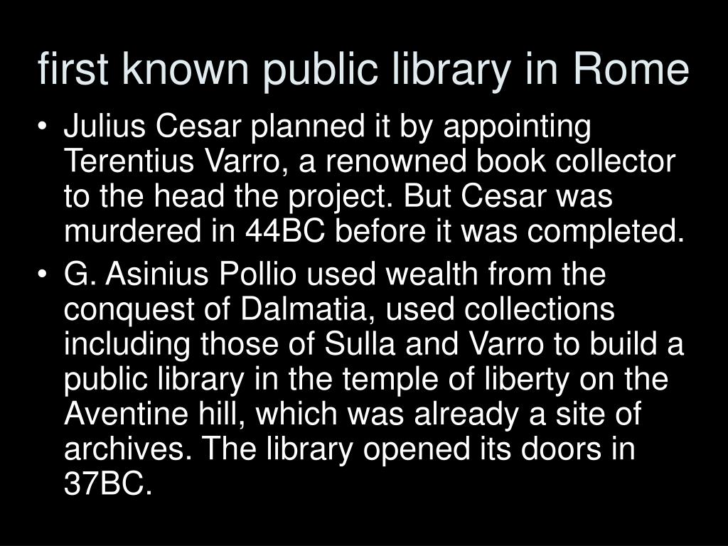 first known public library in Rome