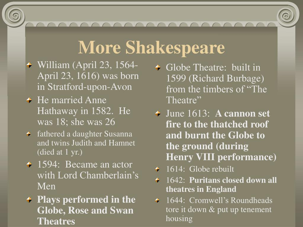 William (April 23, 1564-April 23, 1616) was born in Stratford-upon-Avon