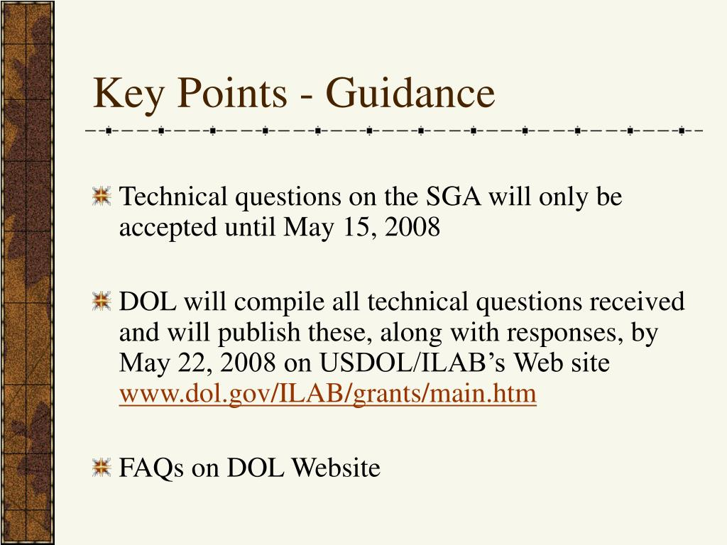 Key Points - Guidance