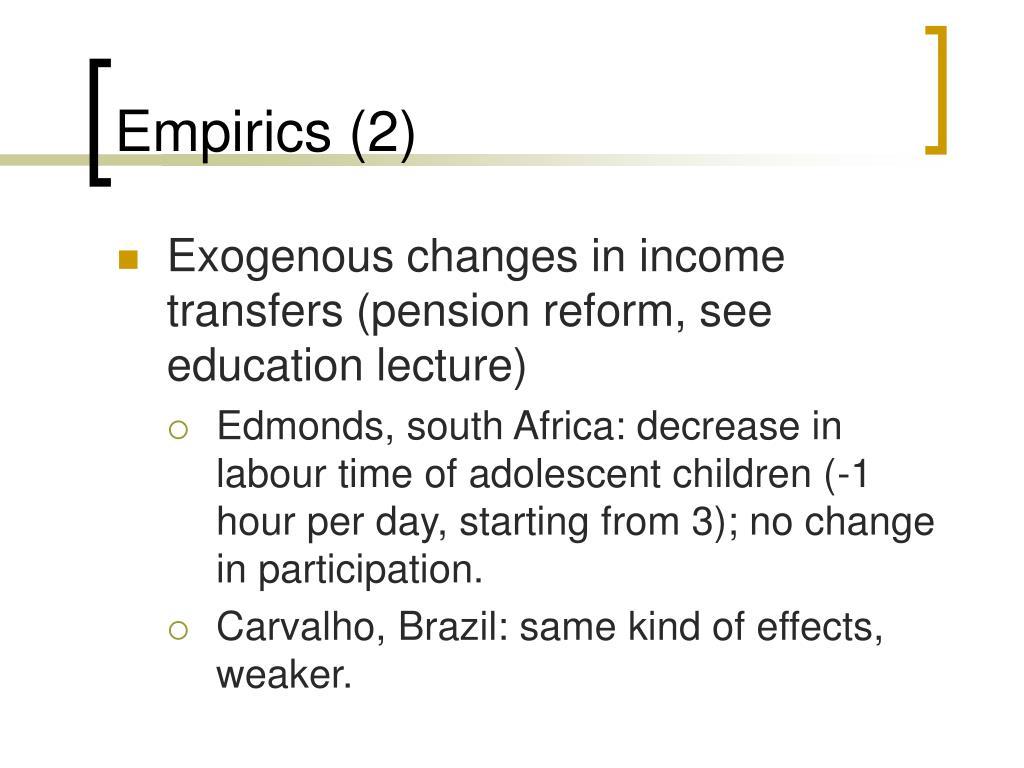 Empirics (2)