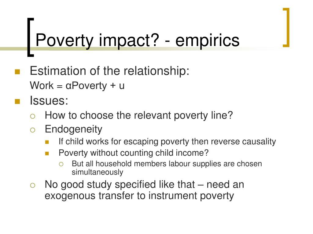 Poverty impact? - empirics