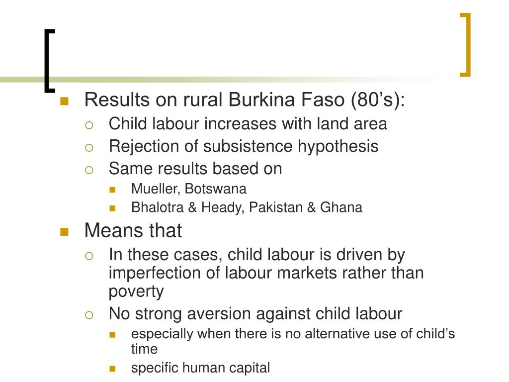 Results on rural Burkina Faso (80's):