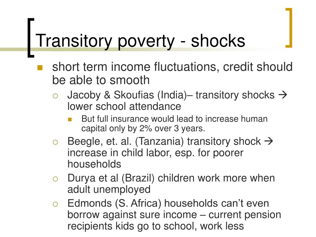 Transitory poverty - shocks