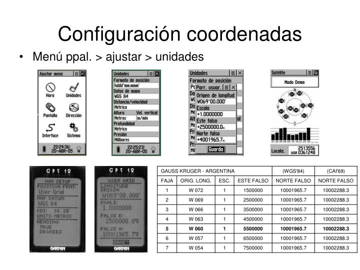 Configuración coordenadas