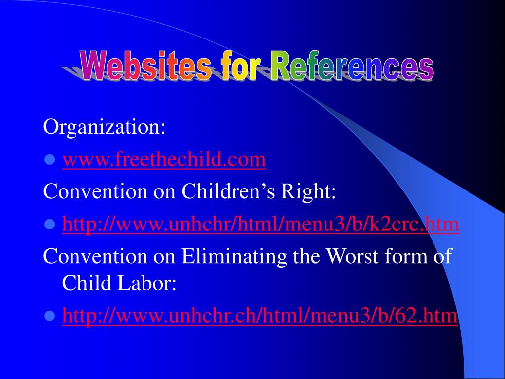 Websites for References