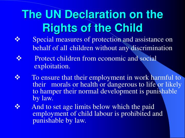 The un declaration on the rights of the child
