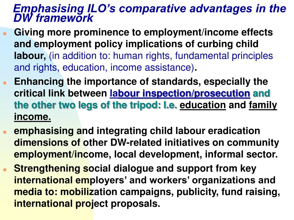 Emphasising ILO's comparative advantages in the DW framework