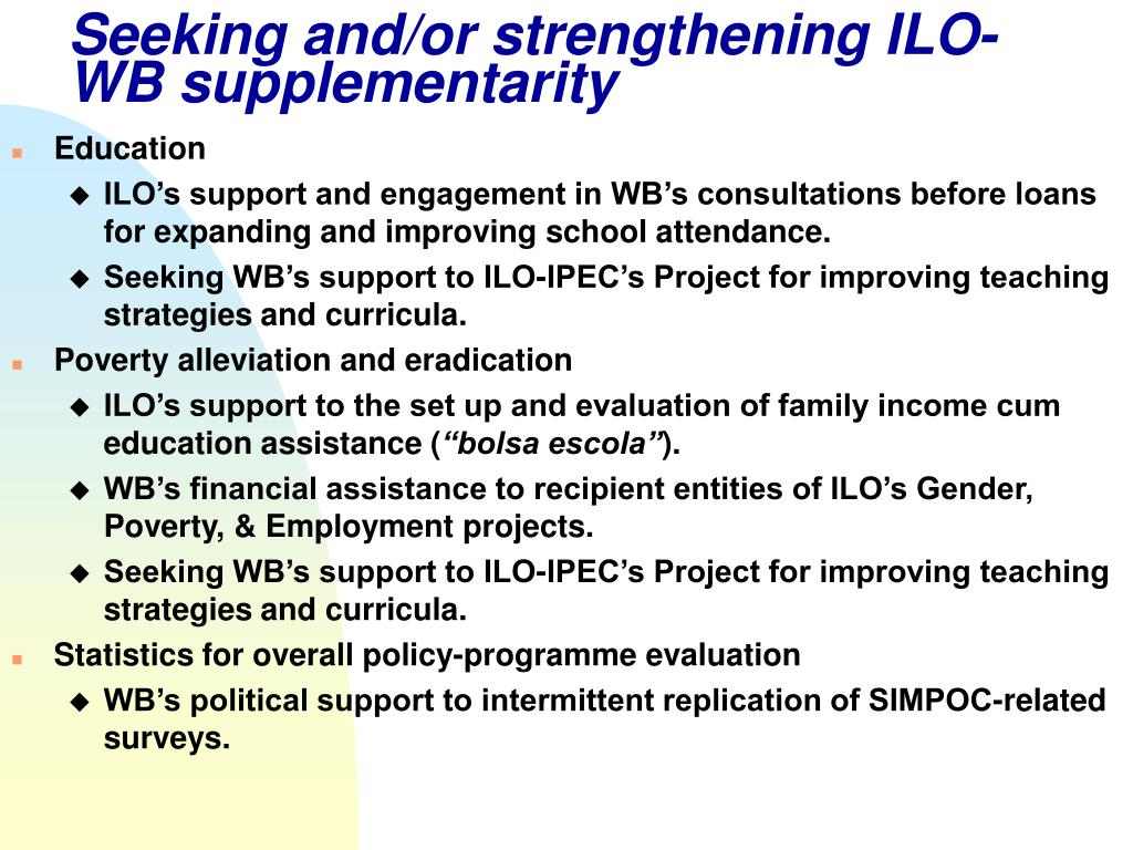 Seeking and/or strengthening ILO-WB supplementarity