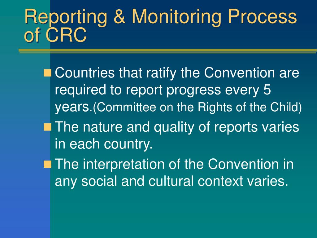 Reporting & Monitoring Process of CRC