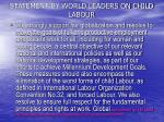 statement by world leaders on child labour