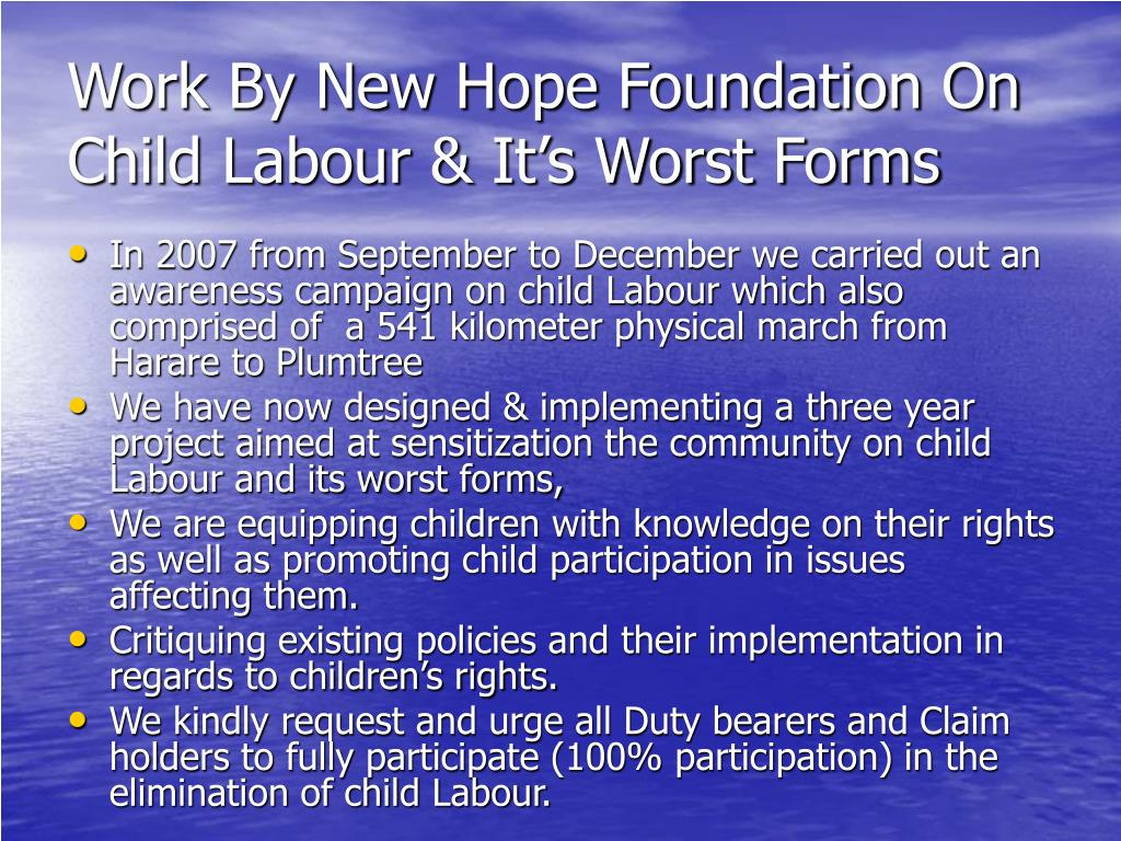 Work By New Hope Foundation On Child Labour & It's Worst Forms