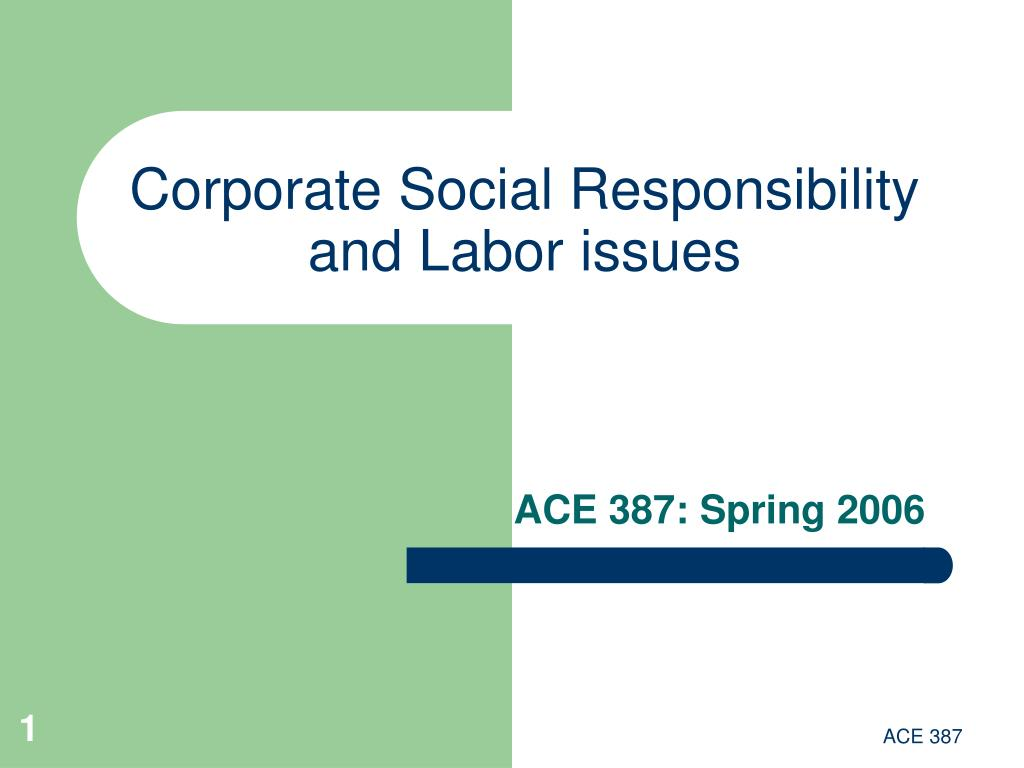 Corporate Social Responsibility and Labor issues