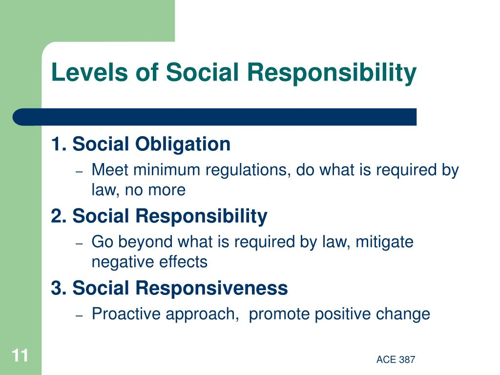 Levels of Social Responsibility