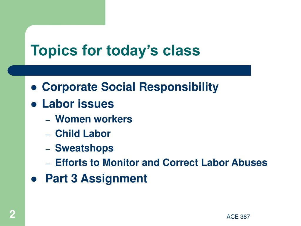 Topics for today's class