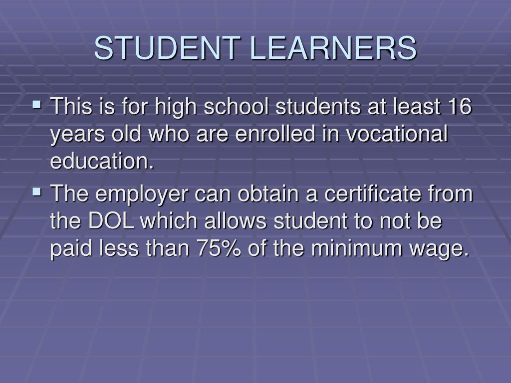 STUDENT LEARNERS