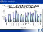 proportion of working children in agriculture selected countries ages 5 14 source simpoc