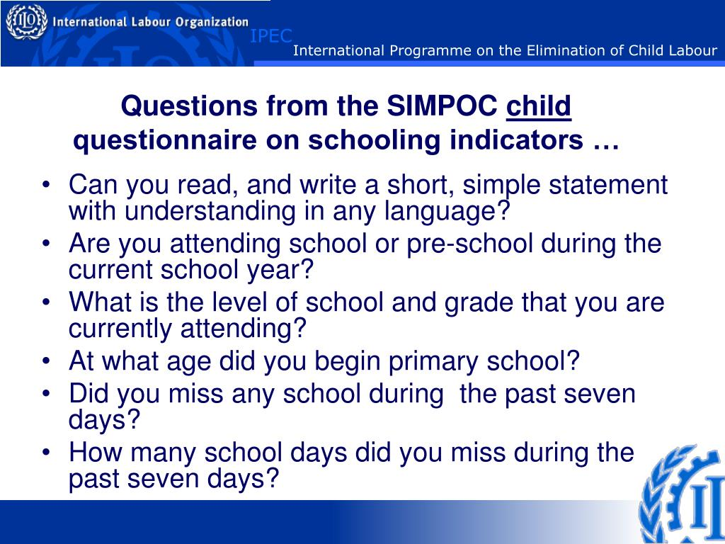 Questions from the SIMPOC