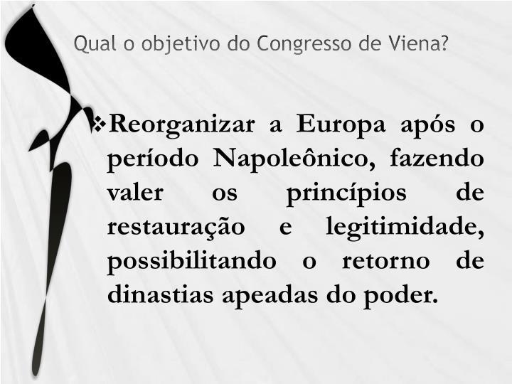Qual o objetivo do Congresso de Viena