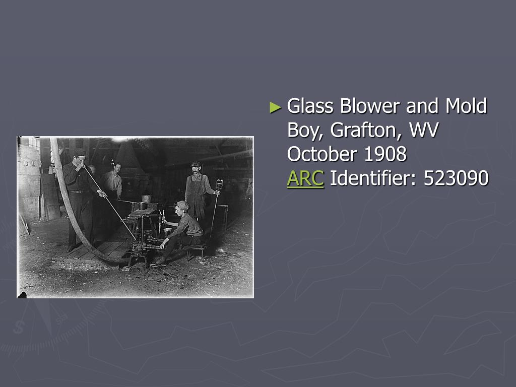 Glass Blower and Mold Boy, Grafton, WV