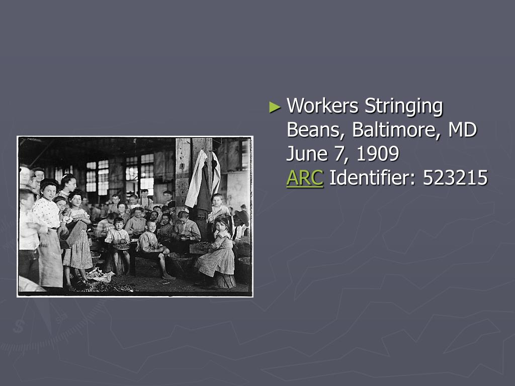 Workers Stringing Beans, Baltimore, MD