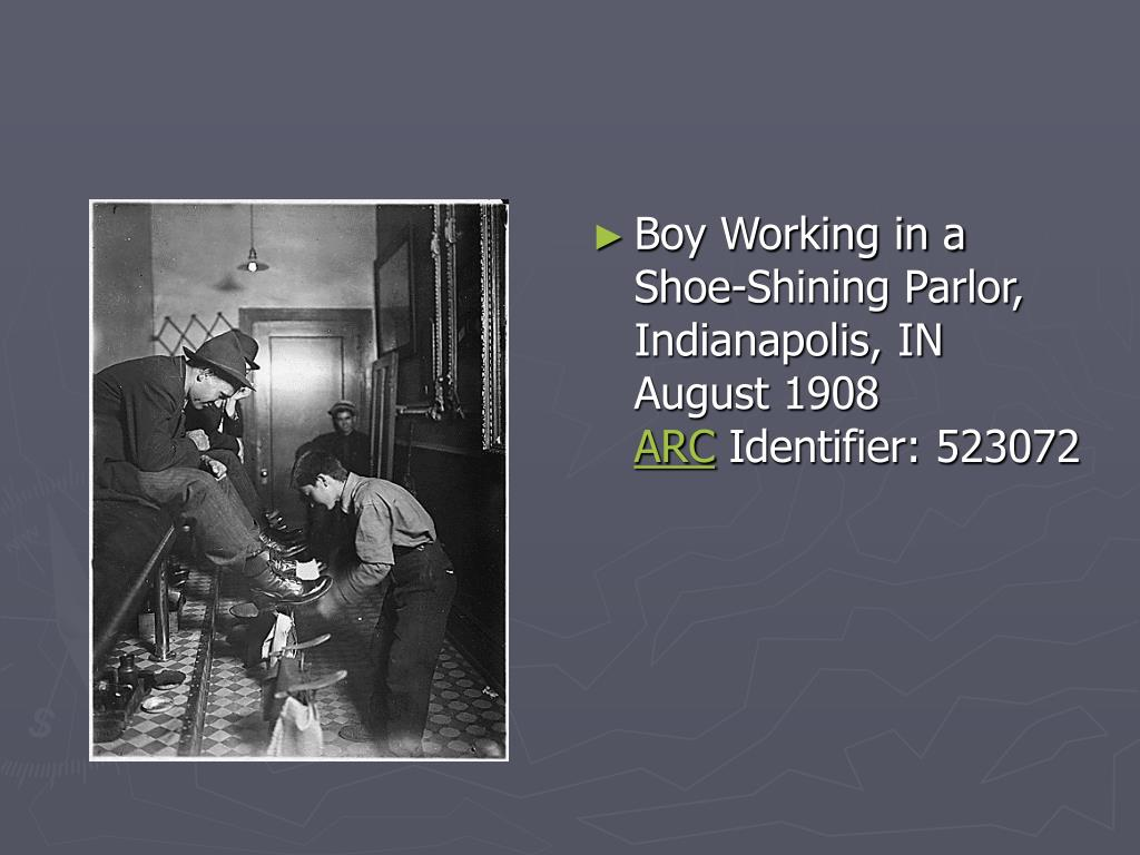 Boy Working in a Shoe-Shining Parlor, Indianapolis, IN