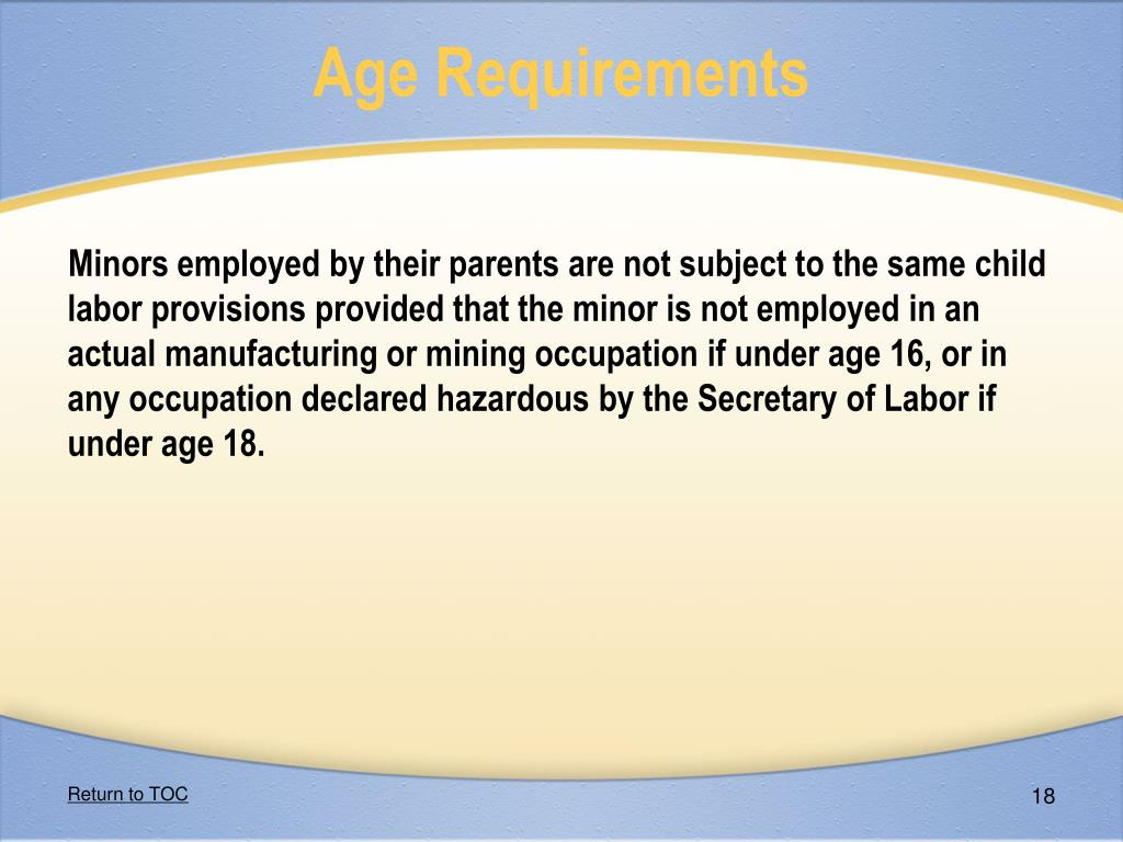Age Requirements
