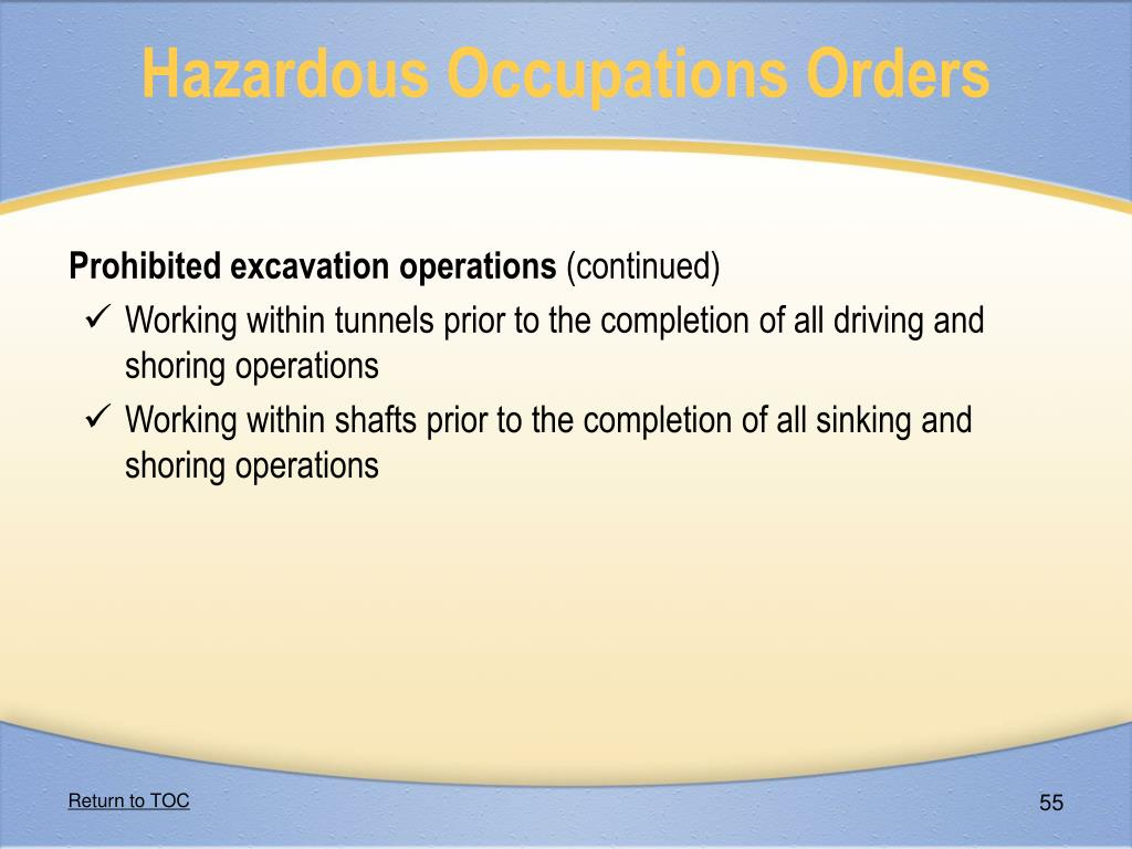 Hazardous Occupations Orders