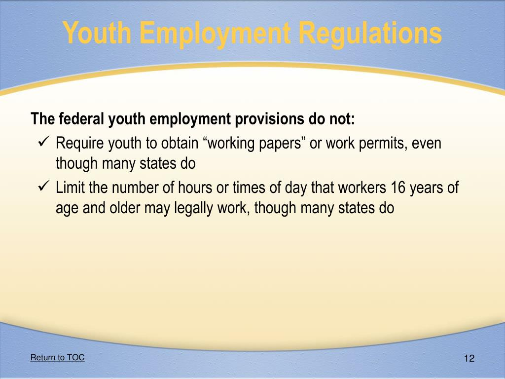 Youth Employment Regulations