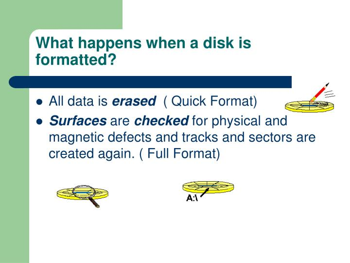 What happens when a disk is formatted?