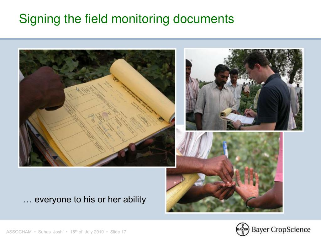 Signing the field monitoring documents