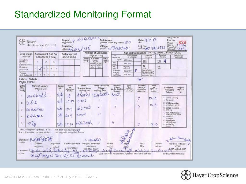 Standardized Monitoring Format