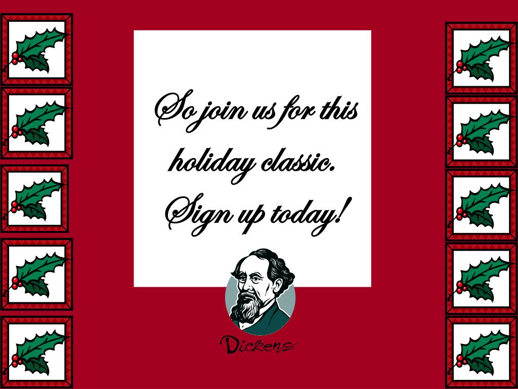 So join us for this holiday classic.