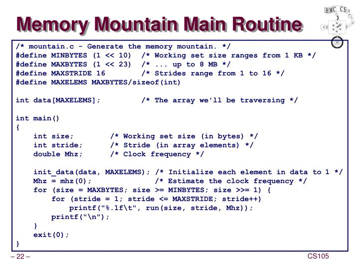Memory Mountain Main Routine