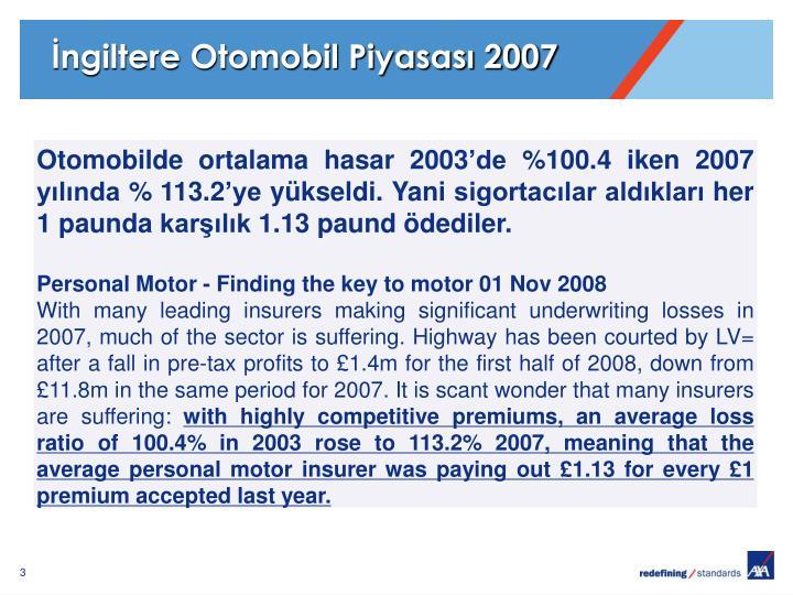 İngiltere Otomobil Piyasası 2007