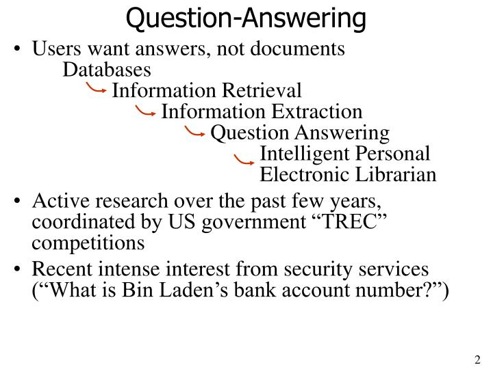 Question answering l.jpg