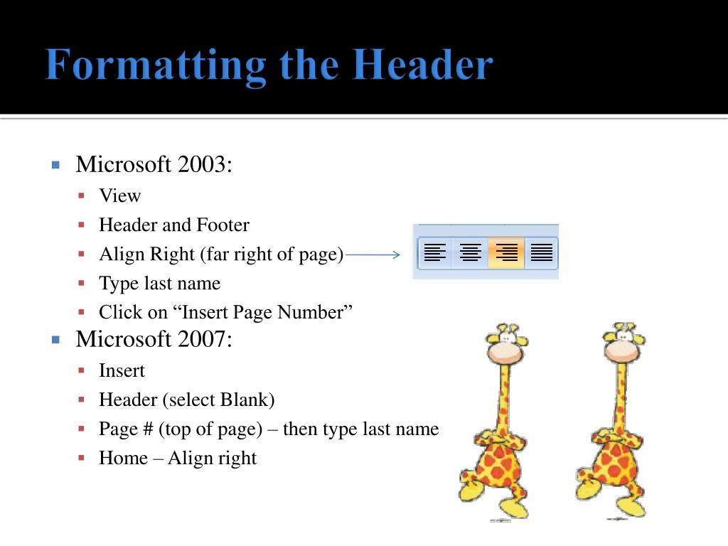 Formatting the Header